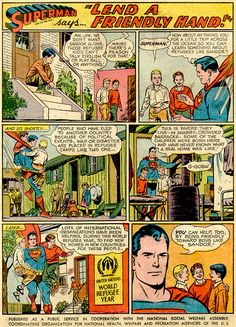 Curt Swan draws a Superman PSA about being friendly to kids who have had to flee their native land. How self-serving! :-D
