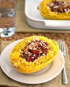Heat Oven to 350: Stuffed Spaghetti Squash with Tomatoes, Olives and Chicken