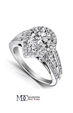 Pear Shape Diamond Halo Graduated Engagement Ring