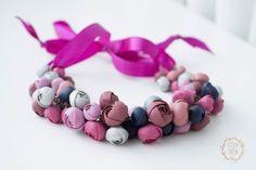 Purple & Pink Bib Necklaces, Unique flowers necklace, statement necklace by eteniren on Etsy