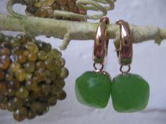 Firenze Ohrringe Ohrschmuck * Creolen * Roségold * Light Green Opal *