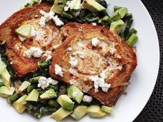 Skillet Suppers: Egg-in-a-Hole with Avocado, Asparagus, and Feta