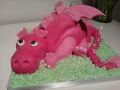 Pink Dragon Cake by ButterCupKels