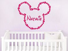 Name Wall Decal Minnie Mouse Head Bow Disney Vinyl Decals Sticker Custom Decals Personalized Baby Girl Name Decor Bedroom Nursery Baby Room Decor ZX131