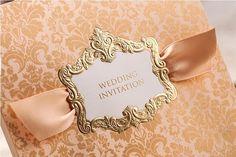 High Class Wedding Invitations 2014 Elegant Golden Flower Printing Convites De Casamento Invitation Cards Free Customized Printing