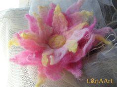 Love is all around - star felted flower brooch by LanAArt