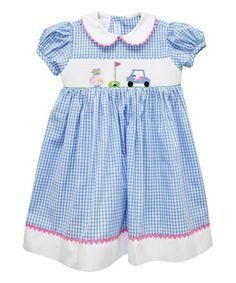 Look at this #zulilyfind! Blue Golf Smocked Dress - Infant, Toddler & Girls by Vive La Fête #zulilyfinds