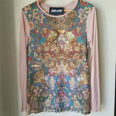 AUTHENTIC Just Cavalli multi color top Light weight loose fitting multi colored print top would look amazing with your fav denims. Would be loose fit on small or perfect for medium. Just Cavalli Tops Tees - Long Sleeve