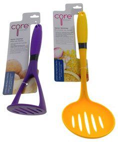 Set of 2 Core Kitchen Purple Potato Masher & Yellow Skimmer Comfort Grip Nylon