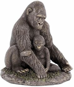 Gorilla Art Sculpture Made of Cold Cast Bronze Available at AllSculptures.com