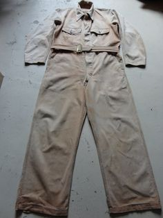 """Vintage 1940s 1950s tan brown denim overalls coveralls belted button up workwear mechanic Goodwood 42"""" x 29"""""""