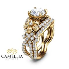 Unique Diamond Engagement Ring Set Floral by CamelliaJewelry