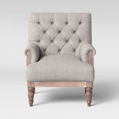 Alford Rolled Arm Tufted Chair with Turned Legs Gray - Threshold™ : Target Accent Chairs For Living Room, Living Room Furniture, Furniture Decor, Living Rooms, Living Spaces, Tufted Accent Chair, Club Chairs, Family Room, Upholstery