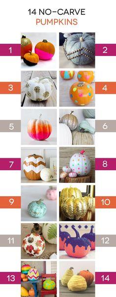 """Lines Across"": 14 No-Carve Ways to Decorate Pumpkins"