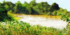 Yellow River  Rio Amarelo  -  Digital Painting  Pintura Digital  -  Elizabeth Barros