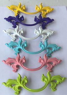 French Provincial Drawer Pull Upcycled White Purple Chartreuse Pink Aqua Yellow Red Black Your Choice 5.75 Inches long 3 inch Centers. $5.00, via Etsy.