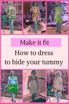If you are looking for flattering clothes for big stomach and dresses that hide belly bulge you will love my sewing tutorial on how to choose clothes and patterns to fashionably hide a big tummy. Learn how to make your stomach look flat in a dress. Sewing Hacks, Sewing Tutorials, Sewing Tips, Sewing Blogs, Big Stomach, Hide Belly, Belly Belly, Flattering Outfits, Leftover Fabric