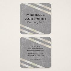 Lux White Gold Stripes with Swank Texture II Square Business Card - faux gifts style sample design cyo