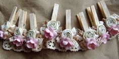 Shabby Chic Nursery PINK decorated Clothes Pins Decorated Clothes Pegs Set of 8 pins with handmade flowers PINK paper flower Shabby Chic Crafts, Shabby Chic Homes, Decorated Clothes Pins, Clothes Pegs, Pink Paper, Diy Wedding Favors, Craft Sale, Handmade Flowers, Rose Buds