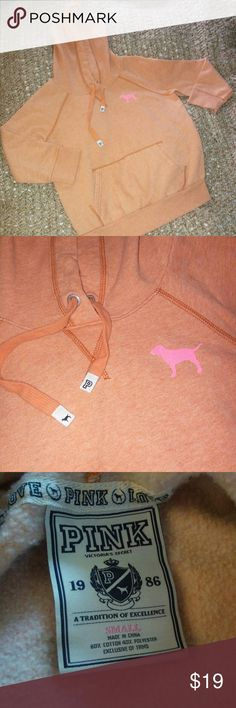 "Pink by VS Hoodie Pink by VS Heather Orange Hoodie. Has 3/4 Sleeves and thinner than a regular hoodie..making it perfect for spring weather. On the front is a small pic of the ""Pink dog"" and the back is a pic of a heart intertwined w/a peace symbol. Super cute and in Excellent condition. PINK Victoria's Secret Tops Sweatshirts & Hoodies"