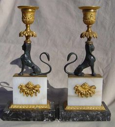 Empire Style Gilt Bronze Candle Holders | Borgman's Antiques