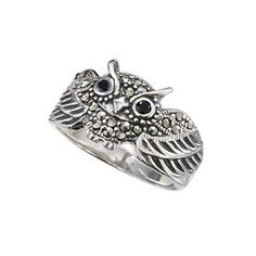 Marcasite and Sterling Owl Ring