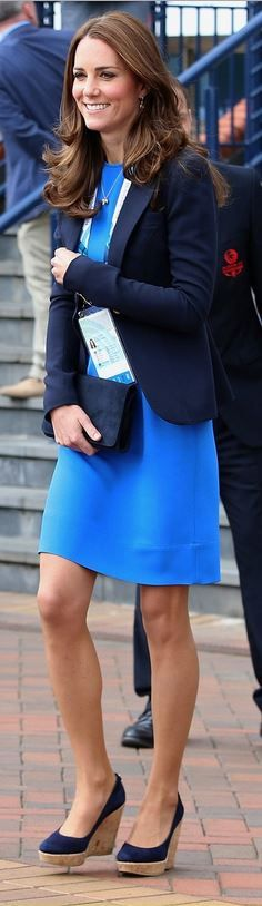 Who made  Kate Middleton's navy suede clutch handbag, blazer, jewelry, tan wedge pumps, and blue dress