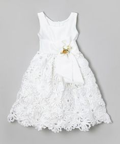 Another great find on #zulily! White Floral Sash Dress - Infant, Toddler & Girls #zulilyfinds