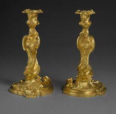 Candlesticks, 1735–50  French (Paris)  Gilt bronze
