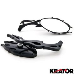 Krator® Flame Rear View Mirrors Black Pair w/Adapters For Harley Davidson Dyna Glide Wide Glide Fxdwg Fxwg