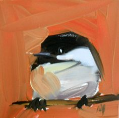 chickadee no 76 original painting by moulton 4 x by prattcreekart, $25.00