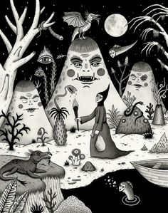 Black & White Surreal Illustration Inspiration by Jon MacNair Kunst Inspo, Art Inspo, Art And Illustration, Psy Art, Creepy Art, Psychedelic Art, Horror Art, Surreal Art, Dark Art