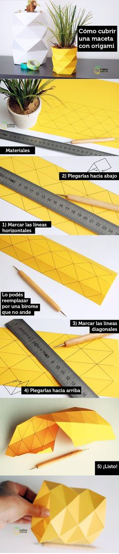 Learn to decorate a pot with simple but cute origami Cute Origami, Origami And Kirigami, Origami Paper Art, Origami Lamp, Origami Ideas, Decor Crafts, Diy Home Decor, Diy And Crafts, Paper Crafts