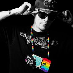 Skrillex Nyan Cat Pixel Rainbow Kawaii Kandi by PegboardCreations
