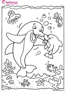 Kleurplaat: Moeder dolfijn met zoon - kleurplaatje.com