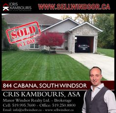 (SOLD IN 1 DAY) - If you are ready to buy or sell a home in Windsor - Essex County call me today! I'm here to help! Ph. 519.995.7600