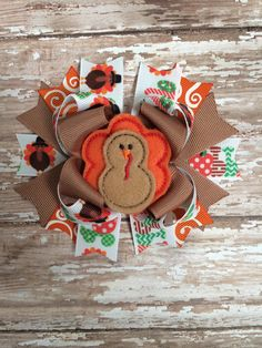 Thanksgiving Turkey Hair Bow by TheJMarieBoutique on Etsy