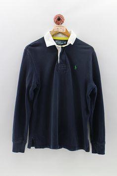 43f78ebe POLO RALPH LAUREN Polo Rugby Shirt Men Medium Vintage 1990s Polo Small  Green Pony Shirt Polo Sportswear Button Shirt Long Sleeves Men Size M