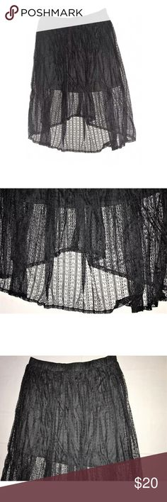 Plus Size Lace Hi Low Long Maxi Skirt Loyal Threads Plus Size Black Lace Hi Low Maxi Skirt SIZE 2X  Gently used, overall very good clean condition. Black, see through lace Partially lined, only the top area is lined Shorter in the front Stretch waist band Size: 2X Waist: 40 inches around unstretched Length: 28 inches down the front &  37 inches down the back Shell: 92% Nylon, 8% Lining: 100% Polyester  Thank you so much! Loyal Threads Skirts High Low