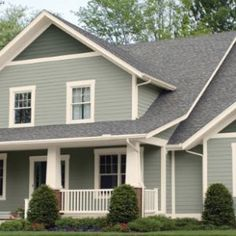 Sherwin Williams Exterior House Paint Colors SW 6199 Rare Gray, SW 7571 Casa Blanca, & SW 6208 Pewter Green