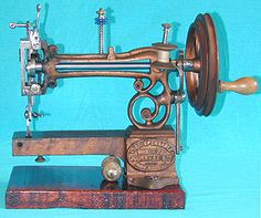 "Manufactured by Journaux-Leblond, this delightful miniature free-arm machine was produced in France during the 1860s. This example is known as the ""Model P"" and is inscribed - ""L'Indispensable""."