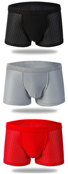 Casual Mesh Breathable Antibacterial U Convex Pouch Mid Waist Boxers for Men