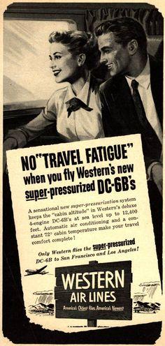Vintage Western Air Lines Ad - 1953 As a child , flew on Western to Idaho Falls, ID