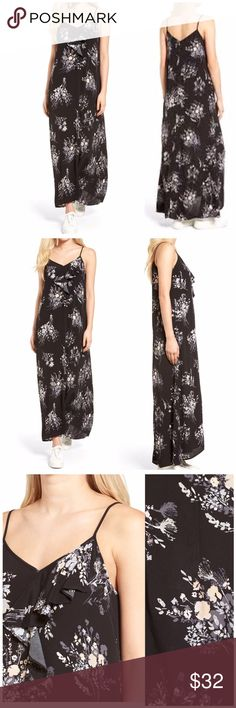 "NWT Leith Ruffle Maxi Dress Make your weekend even sweeter with a fluid maxi slipdress that's ruffled in front and colored with an artful floral print. 52 1/2"" front length; 55 1/2"" back length approx  Slips on over head V-neck Sleeveless Unlined 100% rayon. Ideally size 12 Nordstrom Dresses Maxi"