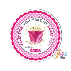 Happy Valentine's Day - Popcorn Personalized Theme tag- Available as Stickers- Card paper Tags or Digital File Valentine Theme, Happy Valentines Day, Printable Tags, Printables, Popcorn Theme, Birthday Thank You, Paper Tags, Diy Stickers, Sticker Paper