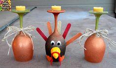 Thanksgiving Turkey Wine Glasses (Candle Holders) Thanksgiving Crafts, Fall Crafts, Halloween Crafts, Holiday Crafts, Diy Crafts, Holiday Ideas, Thanksgiving Decorations, Thanksgiving Blessings, Holiday List