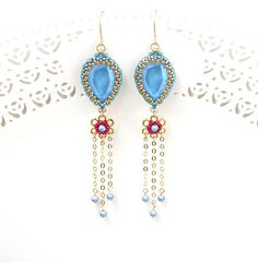 Check out this item in my Etsy shop https://www.etsy.com/il-en/listing/563331089/statement-earrings-blue-long-earrings