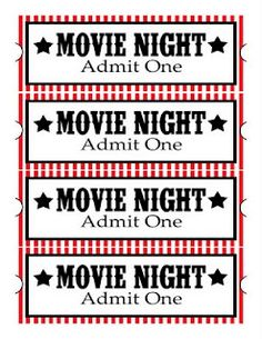 cute printables for family movie night. Try and make it a rule that you all sit down together to enjoy a movie at least once a month.