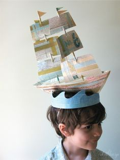 Boat afloat party hat // The House that Lars Built Crazy Hat Day, Crazy Hats, Silly Hats, Funny Hats, Diy For Kids, Crafts For Kids, Easter Hat Parade, Old Lady Costume, Costume Zombie