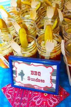 BBQ sundaes- how cute is that. BBQ sundaes consist of pulled pork, BBQ baked beans, cole slaw and a pickle spear.